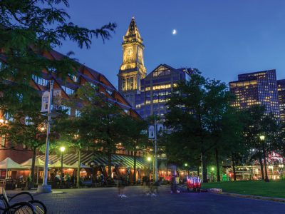 A summer's evening in Columbus Park in Boston