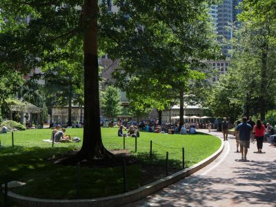 Relaxing in Post Office Square