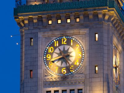 Boston landmark, the Custom Tower House at night