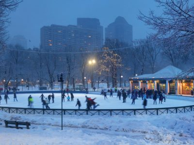 Ice skating on Boston Common's Frog Pond