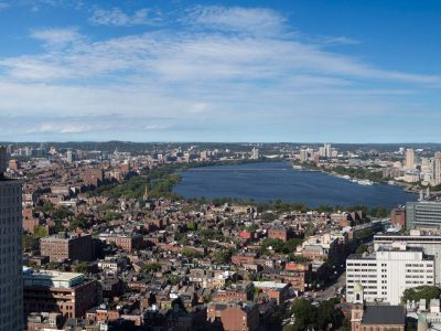West view Charles River, MGH to R, Beacon Hill Back Bay