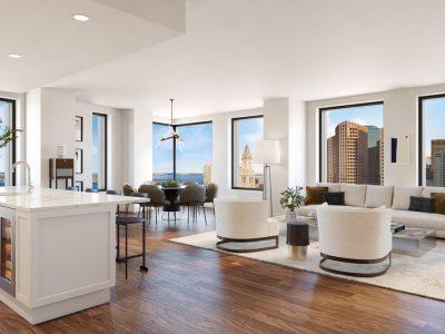 White living area with tall windows is open & spacious, unlike One Dalton, Echelon, Raffles, Pier 4, St. Regis.