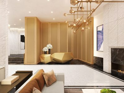 Luxurious and tasteful, the homeowners lobby at The Sudbury