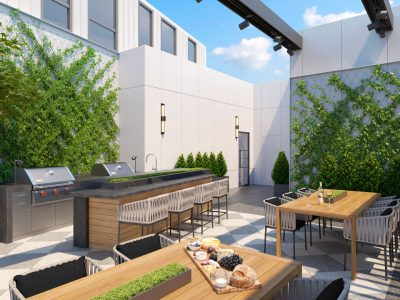 Rooftop cooking/dining area is open to sky. Features living plant walls and overhead trellis.
